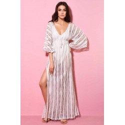 Φόρεμα Μάξι Άσπρο Με Μανίκι Δαντέλας Milena Paris 40124
