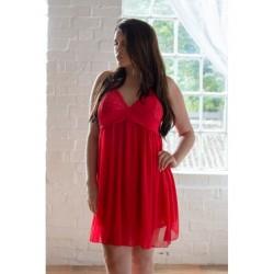 Plus Size Babydoll Κόκκινο Με Διπλό Τούλι Δαντέλα Perfect4U