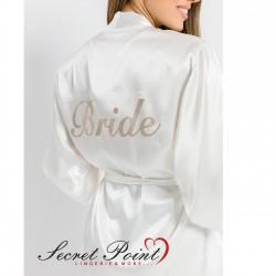 """Bride"" Σατέν Νυφική Ρόμπα Με Χρυσή Μεταλλική Εκτύπωση Secret Point"