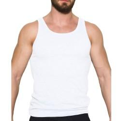 Ανδρική Φανέλα Λευκή Βαμβακερή Τιράντα Αθλητικού Τύπου Apple 0310340