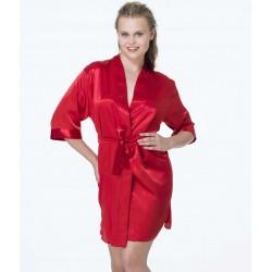 Γυναικεία Ρόμπα Κόκκινη Σατέν Σταυρωτή Ζωνάκι Στη Μέση Jumelles 4700