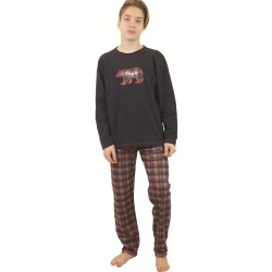 Χειμερινή Εφηβική Πυτζάμα Για Αγόρι Με Καρό Παντελόνι Galaxy 134