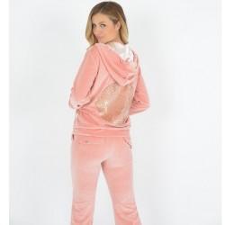 Γυναικεία Φόρμα Βελουτέ Ροζ Με Χρυσό Τύπωμα Πίσω Secret Point