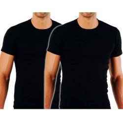 Apple Ανδρικά Βαμβακερά Κοντομάνικα Φανελάκια T-Shirt  2 Τεμ Μαύρα