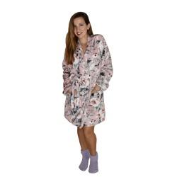 Γυναικεία Ρόμπα Floral Σταυρωτή Coral Fleece Secret Point 905