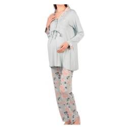 Πυτζάμα Γυναικεία Εγκυμοσύνης  Με Κουφόπιετα Και Κουμπιά Θηλασμού