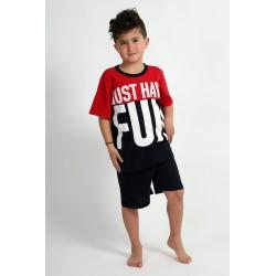 """Καλοκαιρινό Αγορίστικο Παιδικό Πυτζαμάκι Τύπωμα """"FUN"""" Happy Family 178"""