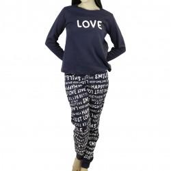 """Χειμερινή Γυναικεία Βαμβακερή Πυτζάμα """"LOVE"""" Galaxy"""