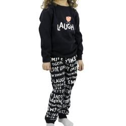 """Χειμερινή Παιδική Κοριτσίστικη Πυτζάμα """"LAUGH"""" Galaxy"""