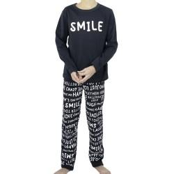 """Χειμερινή Εφηβική Αγορίστικη Πυτζάμα """"SMILE"""" Galaxy"""