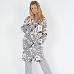 Γυναικεία Ρόμπα Floral Κουμπωτή Coral Fleece Secret Point 909